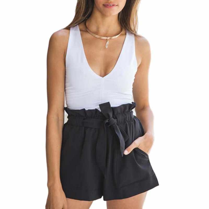 Fashion Women Slim Casual Shorts High Waist Loose Shorts Patchwork Fashionable Bow Short Pant Female Short
