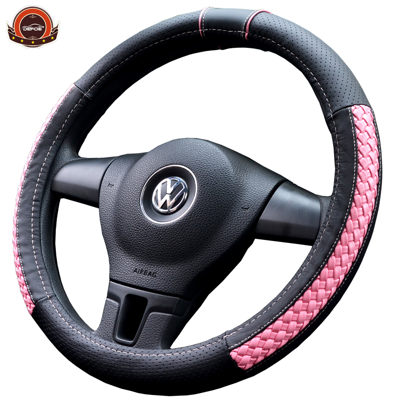 Lady style Meilleur qualité couverture De volant de Voiture Véritable En Cuir ronnd D Style Diamètre 36-40 cm volant de voiture couverture de 6 couleur