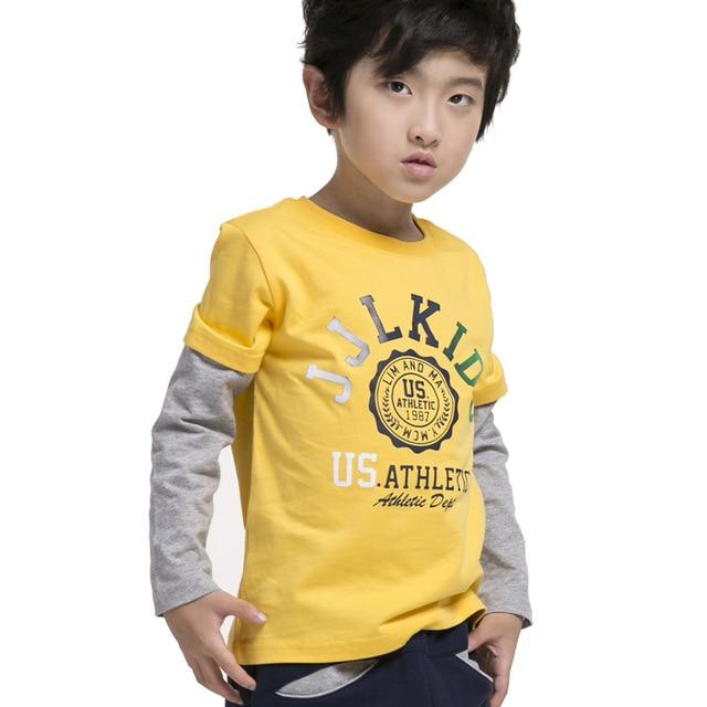 Boys t shirt false two design kids shirt brand size 3-16 Years Free Shipping