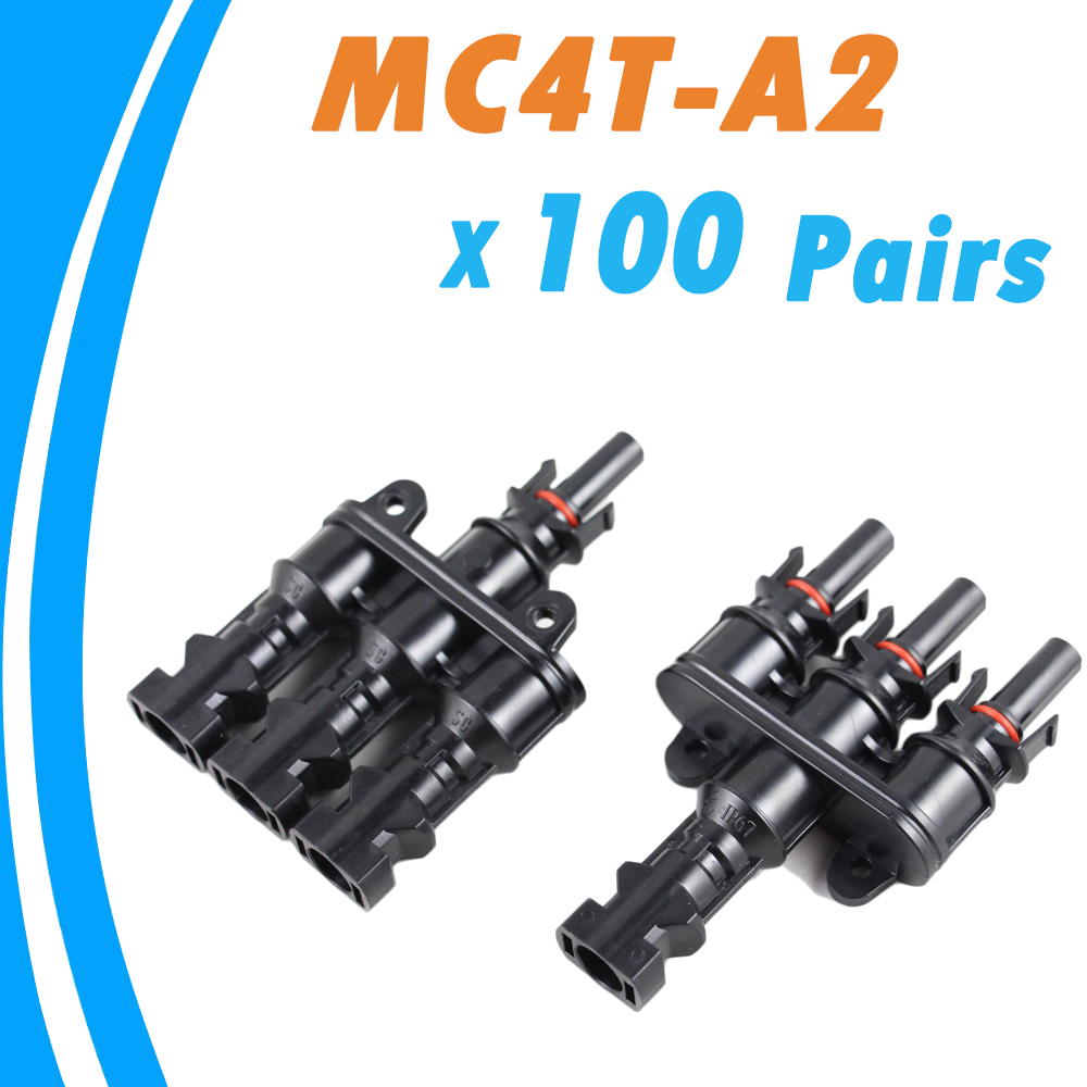 100Pairs/Lot Solar Panel MC4 Connectors 3 to 1 T Branch One Female to Three Male MC4 Panel Cable Connectors