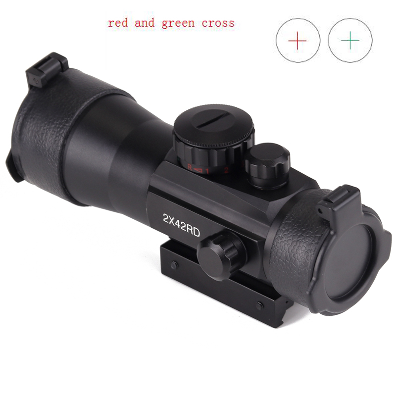 2x42 Red Green cross Airsoft Rifle Scope Sight with 20mm and 11mm Tri Picatinny Rail for Hunting Riflescope