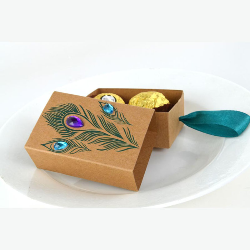 5sets DIY Peacock Feather Candy Boxes Drawer Design With Faux Rhinestone Wedding Kids Birthday Favors Kraft Paper Gift Boxes