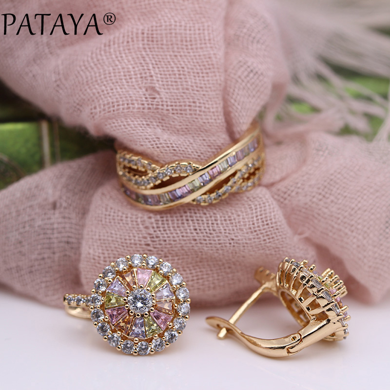 PATAYA New 585 Rose Gold Colorful Square Round Natural Zircon Dangle Earrings Rings Sets Women Luxury Fine Wedding Jewelry Set все цены