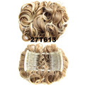 2pcs lot Wavy Curl Hair Big Bun Chignon with two plastic comb easy clip to hair Hairpiece elastic net Black Brown Blonde