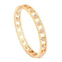 Fashionable Four Leaf Series Copper Set 3A Zircon Open Mouth Chrysanthemum Bracelet Hollow Lady Bracelet Retro Vip Link