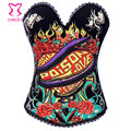 Snake and Floral Printed Cotton Sexy Club Bustier Top Push Up Corset Overbust Corselet Burlesque Woman Gothic Corsets Bustiers