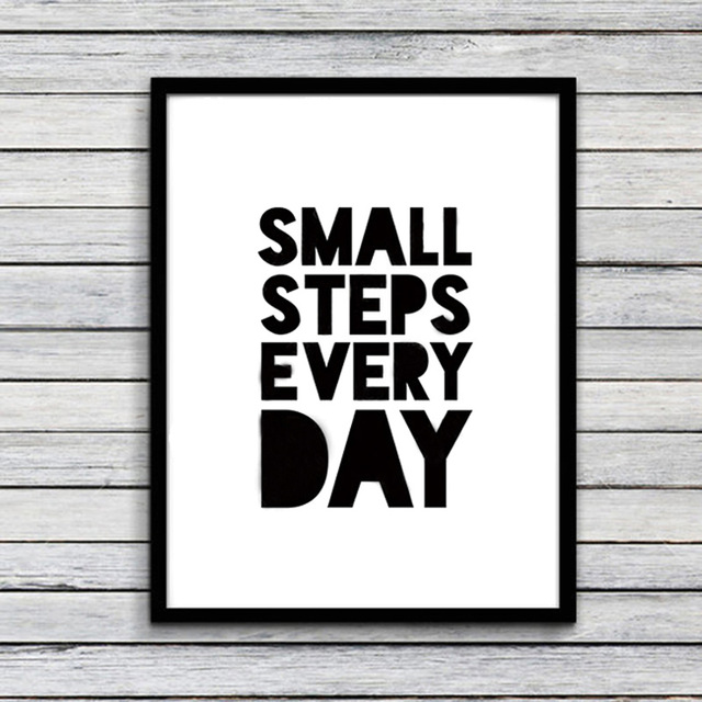 Small Step Every Day Quote Canvas Art Painting Poster Print Wall Picture For Kids Room Study