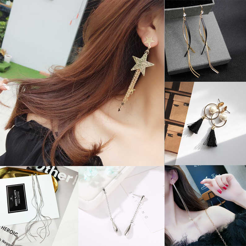 Long Earrings Woman Chain Girl Pendant Gold Silver Chain Stars Tassels Bodo Mia Fashion Jewelry Trendy