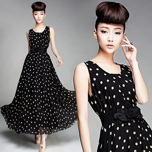 HOT Vintage Fashion New Ladies DressElegant Womens Silk Chiffon Dressmaxi Casual