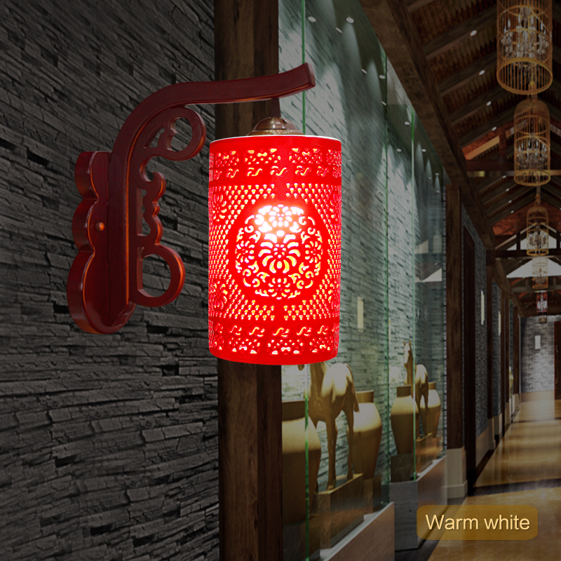 Chinese Style Led E27 Ac90 260v Living Room Indoor Rustic Lighting Ceramic Lampshades Bamboo Modern Wall Lamps
