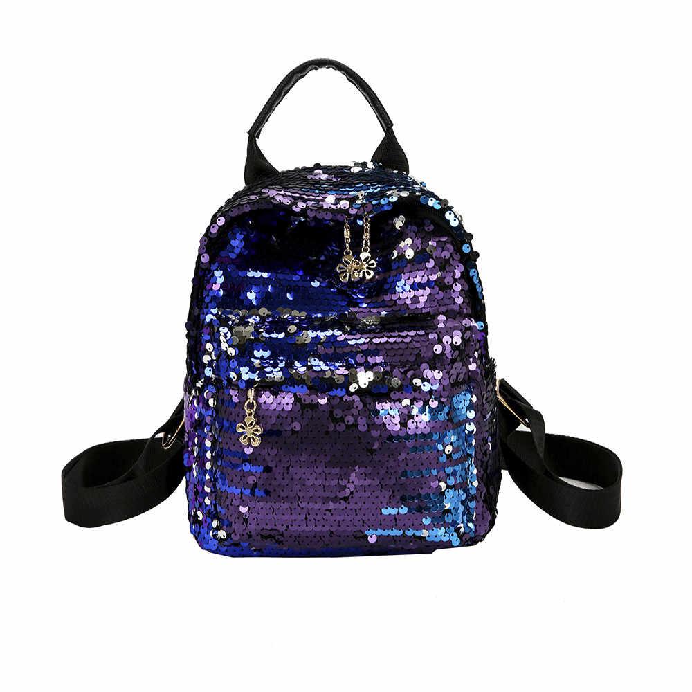8864e28be9f5 Женские сверкающая блестящая Bling рюкзак элегантный дизайн блёстки  Путешествия сумка PU femal плеча рюкзаки, сумки