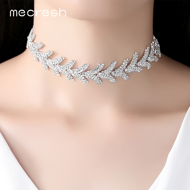Mecresh Newest Leaves Rhinestone Chokers Necklaces for Girls Silver Color Trendy Christmas Party Chocker Wedding Jewelry MXL128 ...