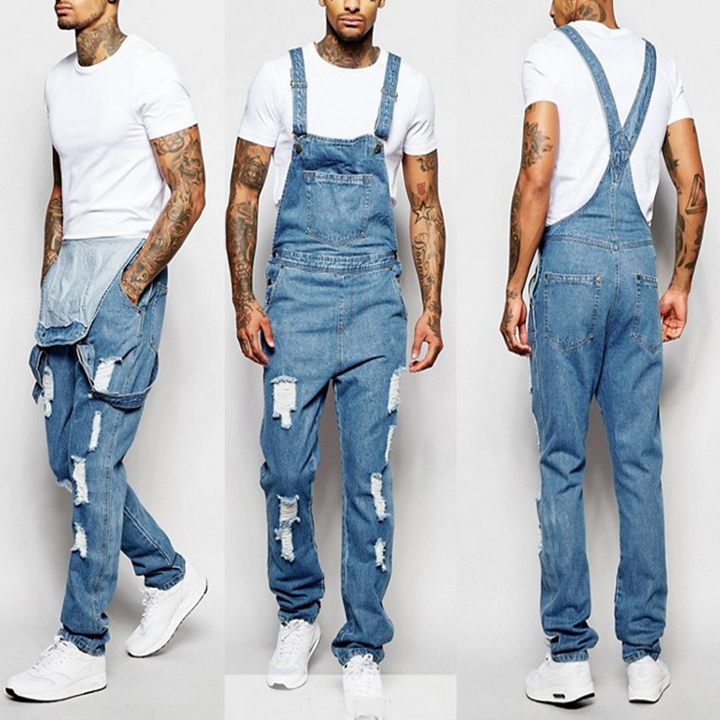 MoneRffi Men Denim Overall One Piece Full Length Ripped Jeans Jumpsuit Men Slim Casual Jeans Overalls Pants Pantalon Homme Jeans(China)