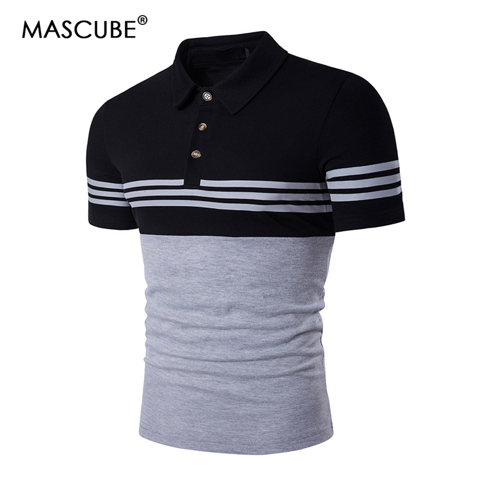 MASCUBE Drop Shipping Cotton Men   Polo   Shirt Brands Stripe Short Sleeve Tops NO.HZAW0172