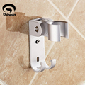 Solid Aluminum Wall Mounted Hand Shower Holder Handheld Sprayer Pedestal Bracket W/Hooks Faucet Accessories