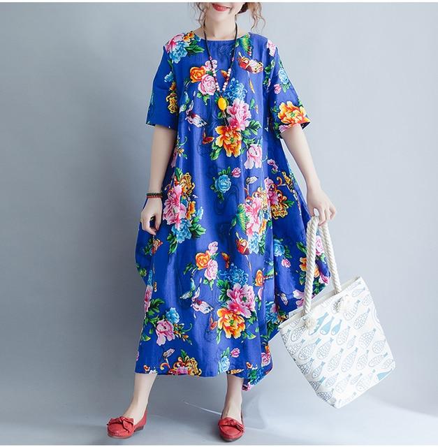 82857d34b3 Quirky Vintage Lagenlook Flowers Print Flax Long Gown 2018 Plus Size  Cotton Linen Half Sleeve Maxi Long Dress Summer BOHO Tunic