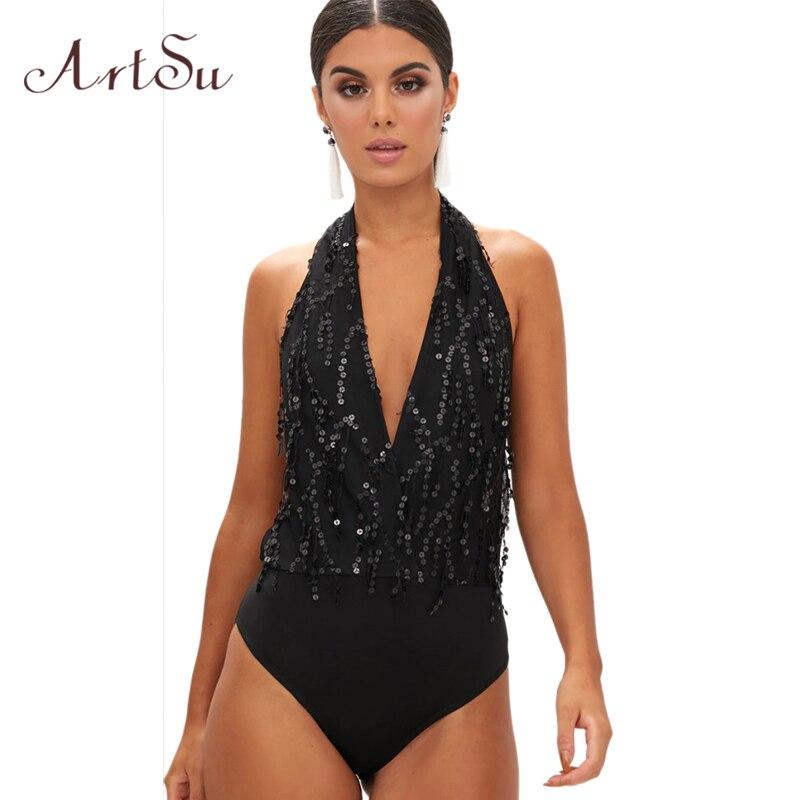 ArtSu Sexy Sequin Halter Bodysuit Women Macacao Feminino Romper Backless Lace Up Jumpsuit Sleeveless Overalls Body Top ASJU30196