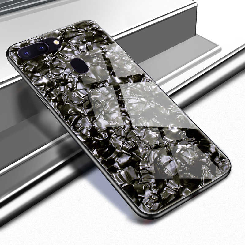 Tempered Glass Case for OPPO F9 F7 F5 Find X R17 R15 R9s R11 R11s R7 R7s  Plus Cover Glitter Case for OPPO A83 A1 A5 A3 A9 A59