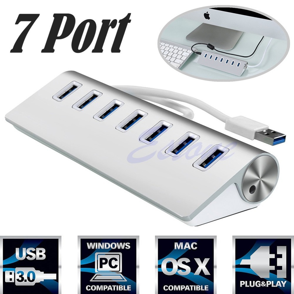 USB 3.0 HUB Aluminum 7 Ports High Speed For Apple Pro Mac Macbook Air PC Laptop S127 ...