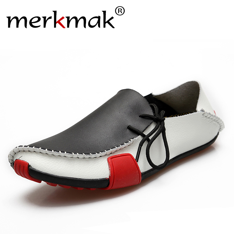 Loafers for Men Casual Men Shoes Genuine Leather 2017 Driving Moccasins Slip On Mens Flat Shoes Boat Loafers Plus Size EU 39-47