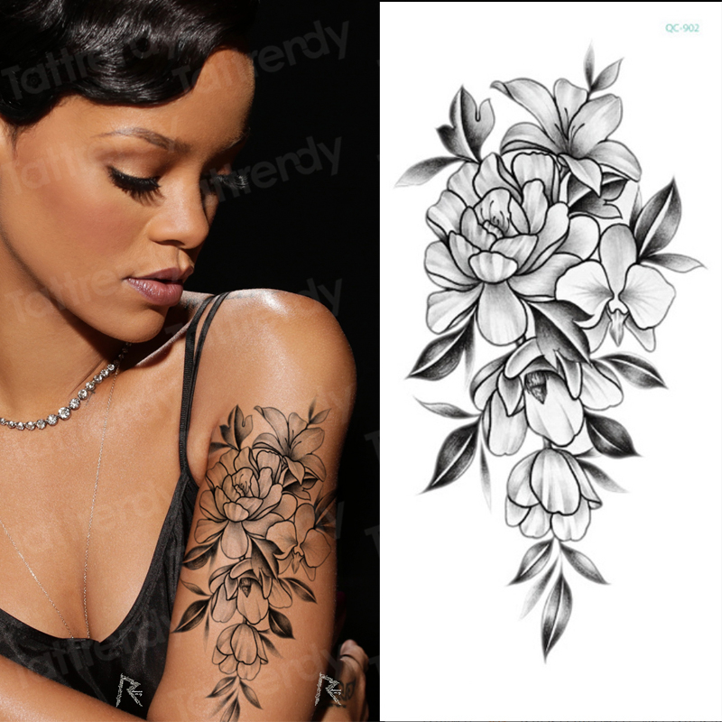 Temporary Tattoo Sticker Flower Black Roses Peony Sketches Tattoo Designs Arm Tatoo Sexy Body Art Big Large Fake Tattoo Stickers