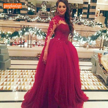 Fashion Burgundy Ball Gown Customized Evening Dresses Long Sleeve 2019 Evening Gowns O Neck Tulle Beaded Appliqued Formal Dress