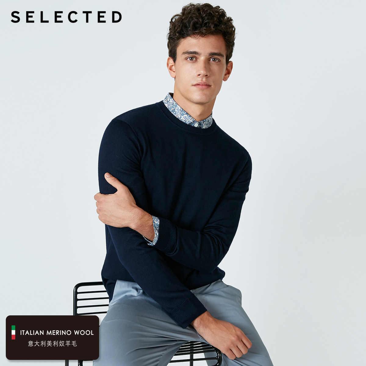 اختيار جديد الإيطالية كنزة من صوف ميرينو الرجال لون نقي الذكور البلوفرات ملابس التريكو S | 418424503