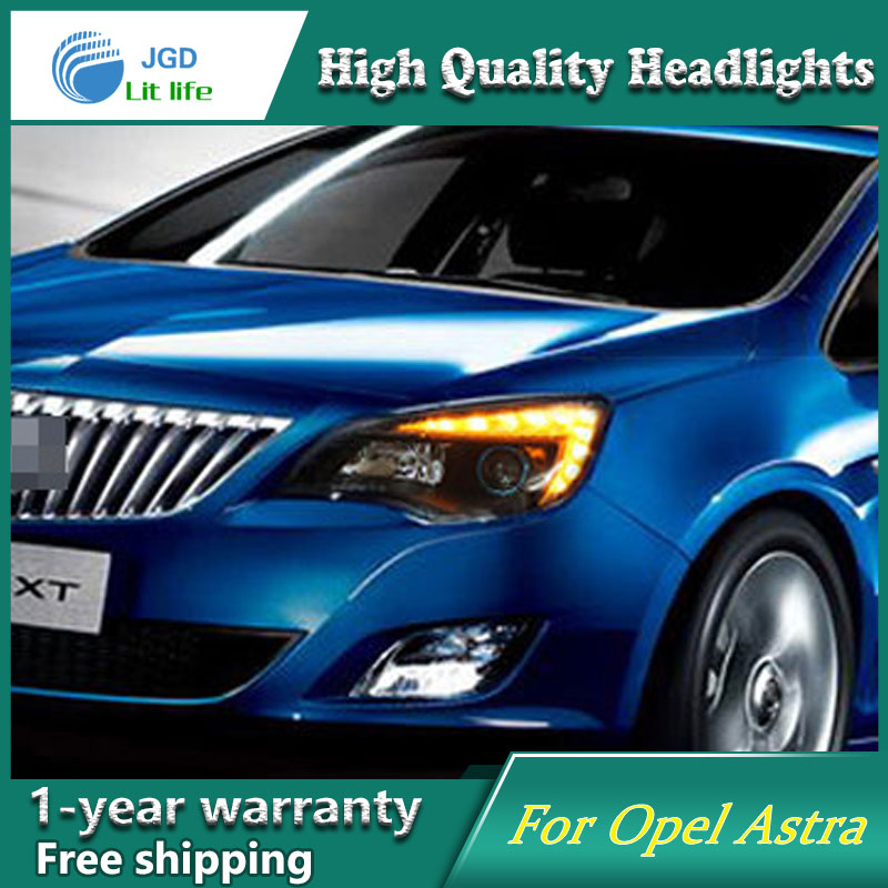high quality Car styling case for Opel Astra 2010-2012 Headlights LED Headlight DRL Lens Double Beam HID Xenon Car Accessories hireno headlamp for 2016 hyundai elantra headlight assembly led drl angel lens double beam hid xenon 2pcs