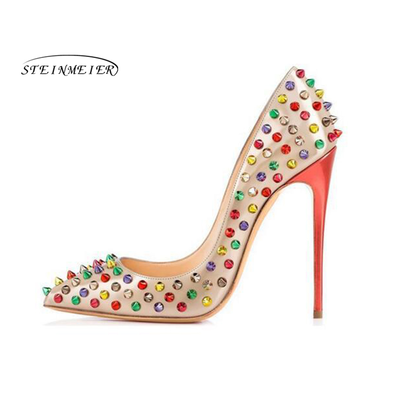 все цены на 2019 women pumps high heels Wedding Party Shoes rose High Heel Sexy Spring Women Shoes rivet Pointed Toe Women Pumps