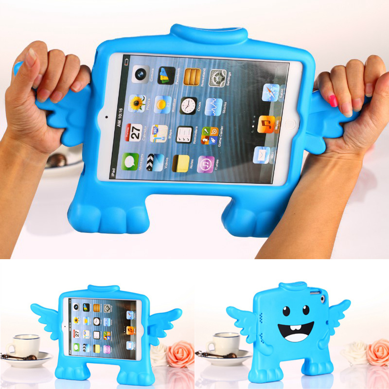 все цены на  Case for ipad mini 1 / 2 / 3 Angel hand shank stand Shock Proof EVA full body cover Kids Children Safe Silicone para shell coque  онлайн