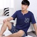 2016 conjuntos de pijamas de algodón para hombres casual botón de moda popular del verano camisa pijama casa ropa de dormir costo
