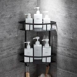 Настенные полки для ванной комнаты черного цвета, алюминиевая корзина для хранения, полка для душа, держатель для фена etagere tipi repisa