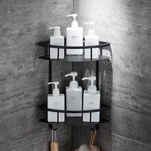 الحائط الحمام الأسود Trangle رفوف الألومنيوم سلة تخزين دش العلبة الجرف حامل مجفف الشعر etagere tipi ريبيسا