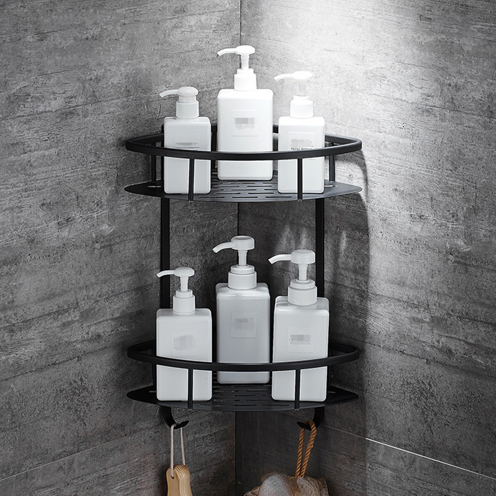 Wall Mounted Bathroom Black Trangle Shelves Aluminum Basket Storage Shower Caddy Shelf Hair Dryer Holder Etagere Tipi Repisa