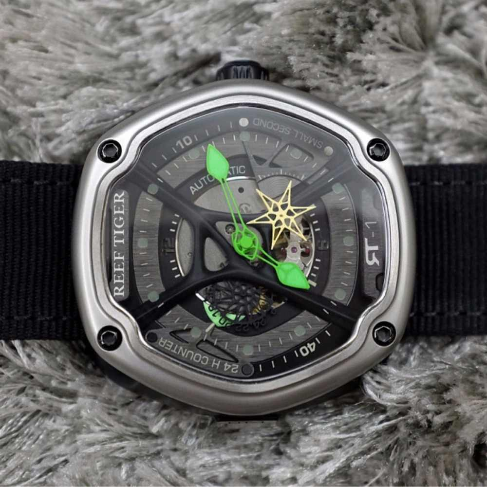 Recife tigre/rt luxo mergulho esporte relógio luminoso dial náilon/couro/pulseira de borracha automático design criativo relógio rga90s7