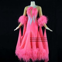 Ballroom Competition Dance Dresses Lady 2019 New High Quality Flamenco Waltz Dancing Skirt Women's Standard Ballroom Dress Pink