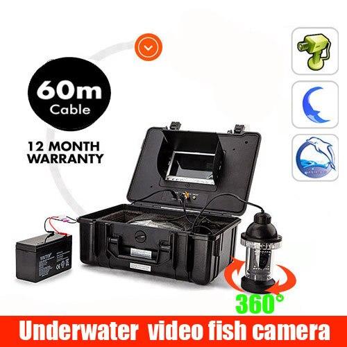 7 ''подводный рыболокатор 60 м кабель подводная видеокамера Свет управляемый ночного видения визуальная камера для рыбалки