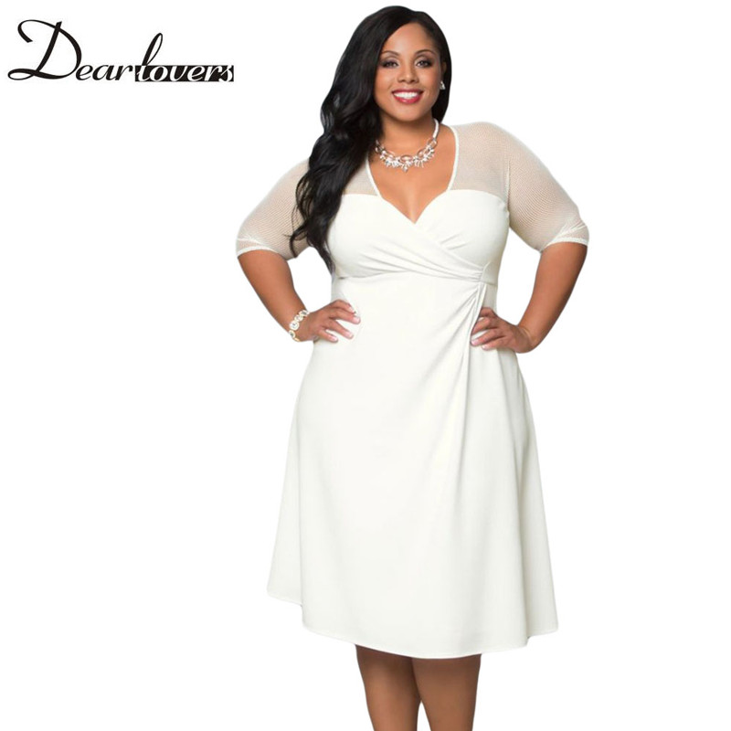 Dear lover Black V Neck Half Sleeve Sugar and Spice Plus Size Dress LC60671 Spring 2017 XXL Big Size Women Clothing For Party