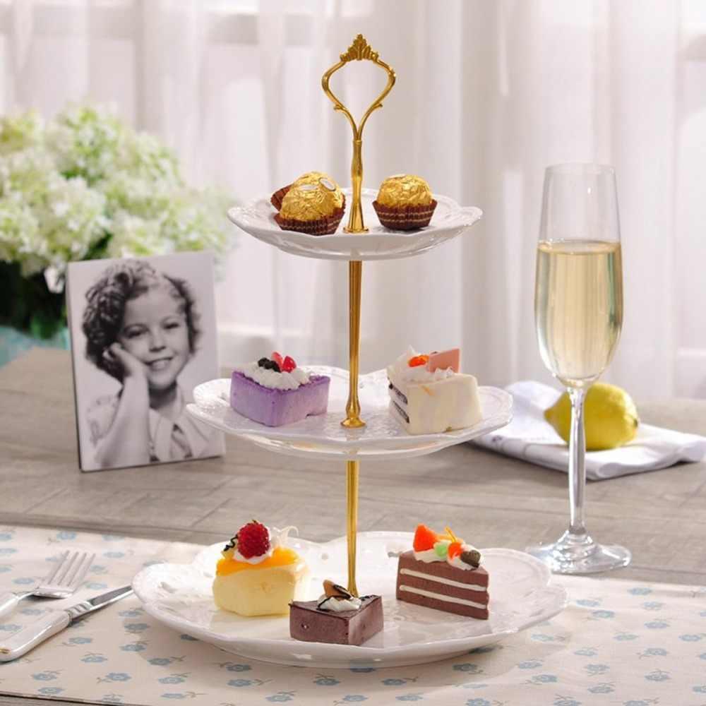 2/3 Tingkat Stainless Steel Round Cupcake Stand Pernikahan Ulang Tahun Kue Menara Kue Alat Pembuat Roti Item Dapur