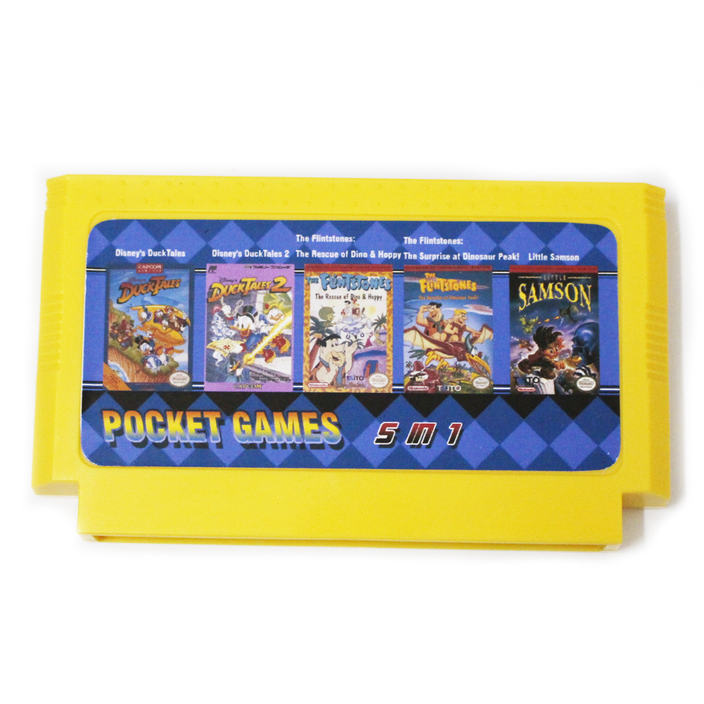5 in 1 Duck Tales 1/2 + The Flintstones 1/2 + Little Samson Best Game Collection 8 Bit Big Yellow Game Card image