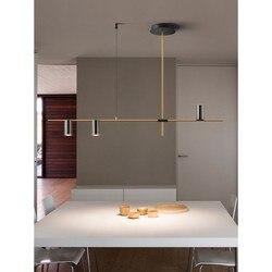 Minimalistyczna restauracja Hanglamp nowoczesne proste kreatywne wiszące światła do jadalni Nordic luksusowy projektant lampa stołowa Led Strip