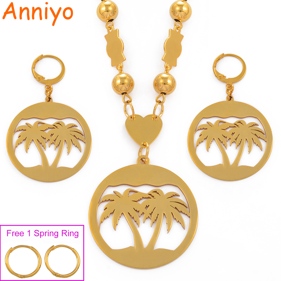 Anniyo Coconut Tree Jewelry set Ball Beads Necklaces Earrings Women Gold Color Guam Hawaii Marshall island Kundu Gifts #078721Anniyo Coconut Tree Jewelry set Ball Beads Necklaces Earrings Women Gold Color Guam Hawaii Marshall island Kundu Gifts #078721