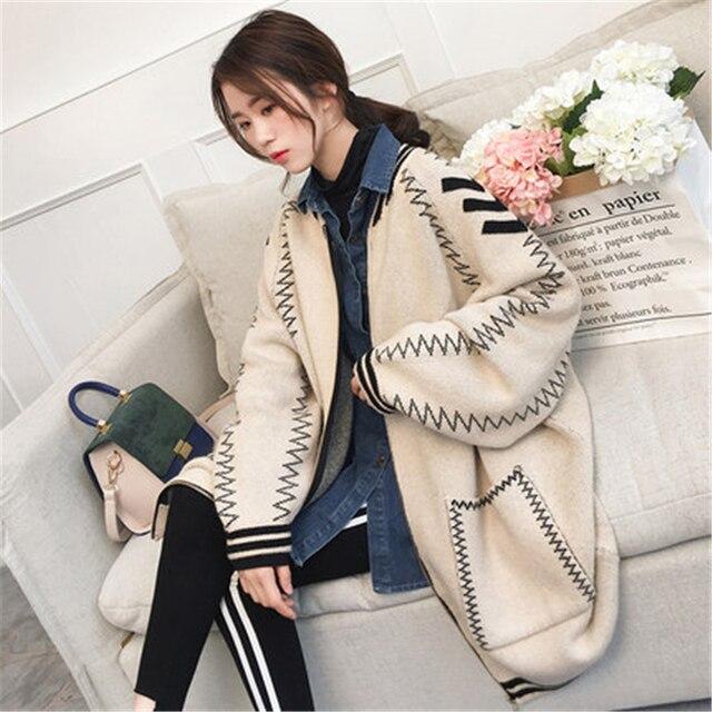 2019 חדש אופנה לסרוג קרדיגן מעילי נשים אביב סתיו מקרית ענקיות הלבשה עליונה רופף ארוך סוודר מעילי נקבה Z535