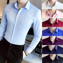 S-4XL 5XL Men Dress Shirt 2019 New Solid Color Elastic Business Slim Fit Marry Work Classic Long Sleeve Shirts CS59