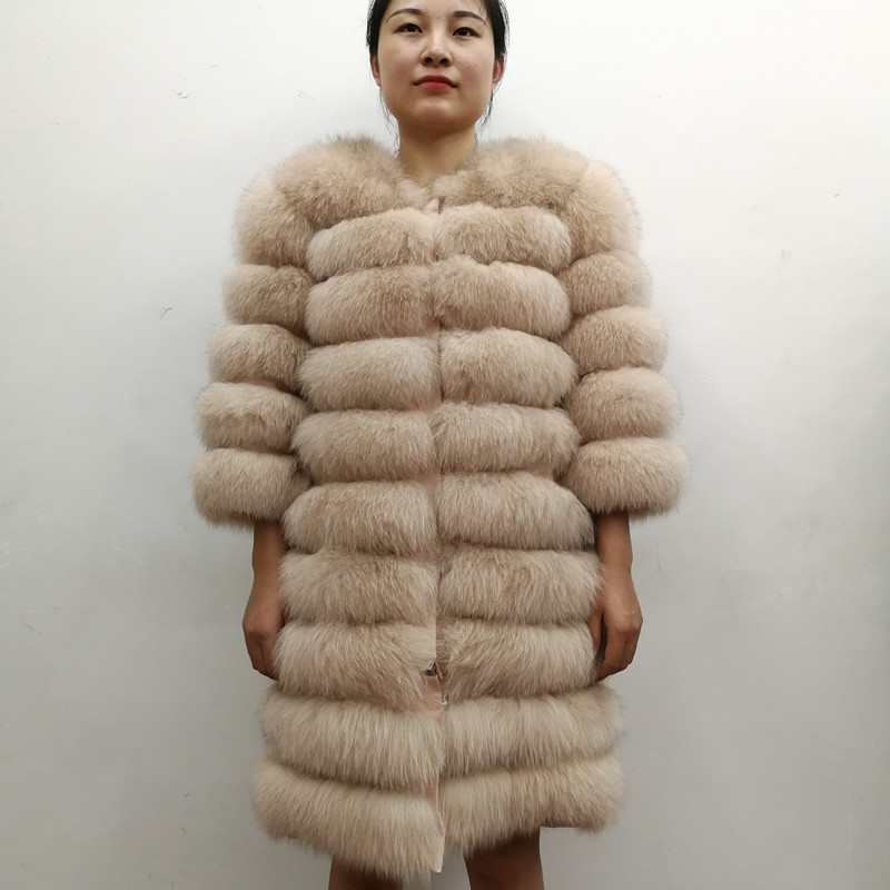 100% Natural Real Fox Fur Coat Women Winter Genuine Vest Waistcoat Thick Warm Long Jacket With Sleeve Outwear Overcoat plus size 10