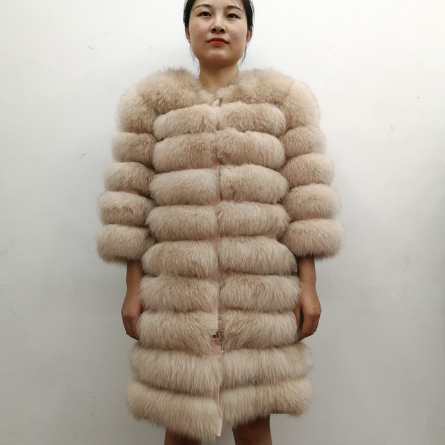 100% Natural Real Fox Fur Coat Women Winter Genuine Vest Waistcoat Thick Warm Long Jacket With Sleeve Outwear Overcoat plus size 3