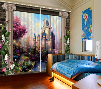 European style Custom Made Curtains Villa Landscape Photo Curtains For Bedding room Living room Blackout Curtains Modern