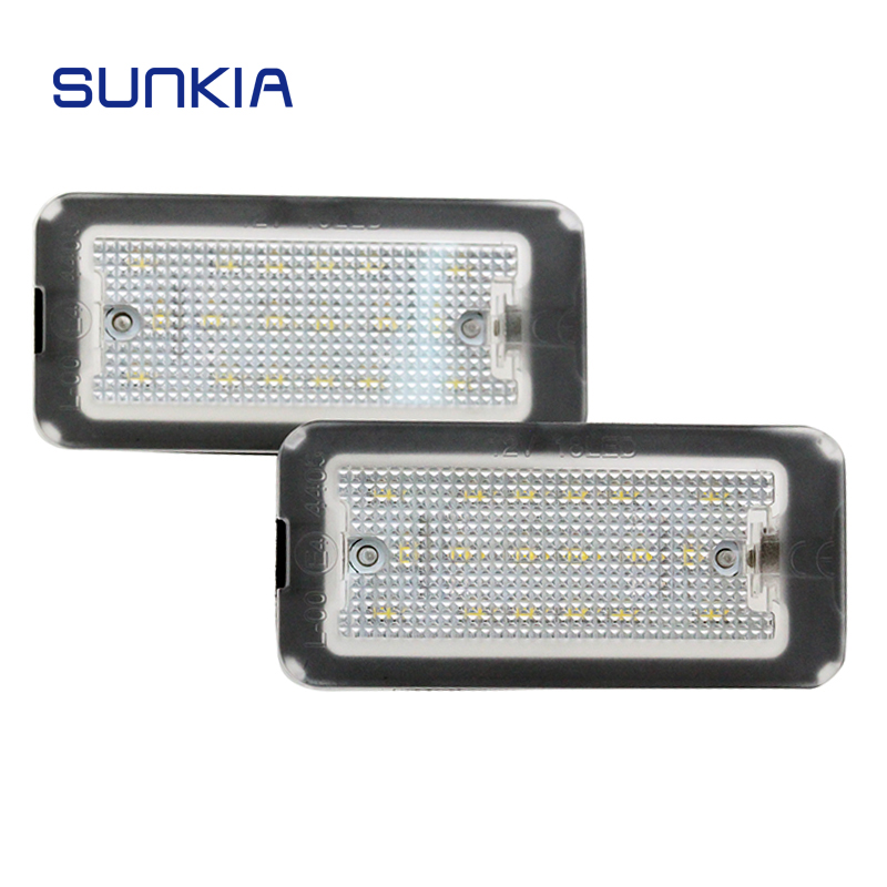 2Pcs/Set SUNKIA LED License Plate Lamp Light For FIAT 500 500C 2009-2015 Car Styling Error Free Canbus Pure White