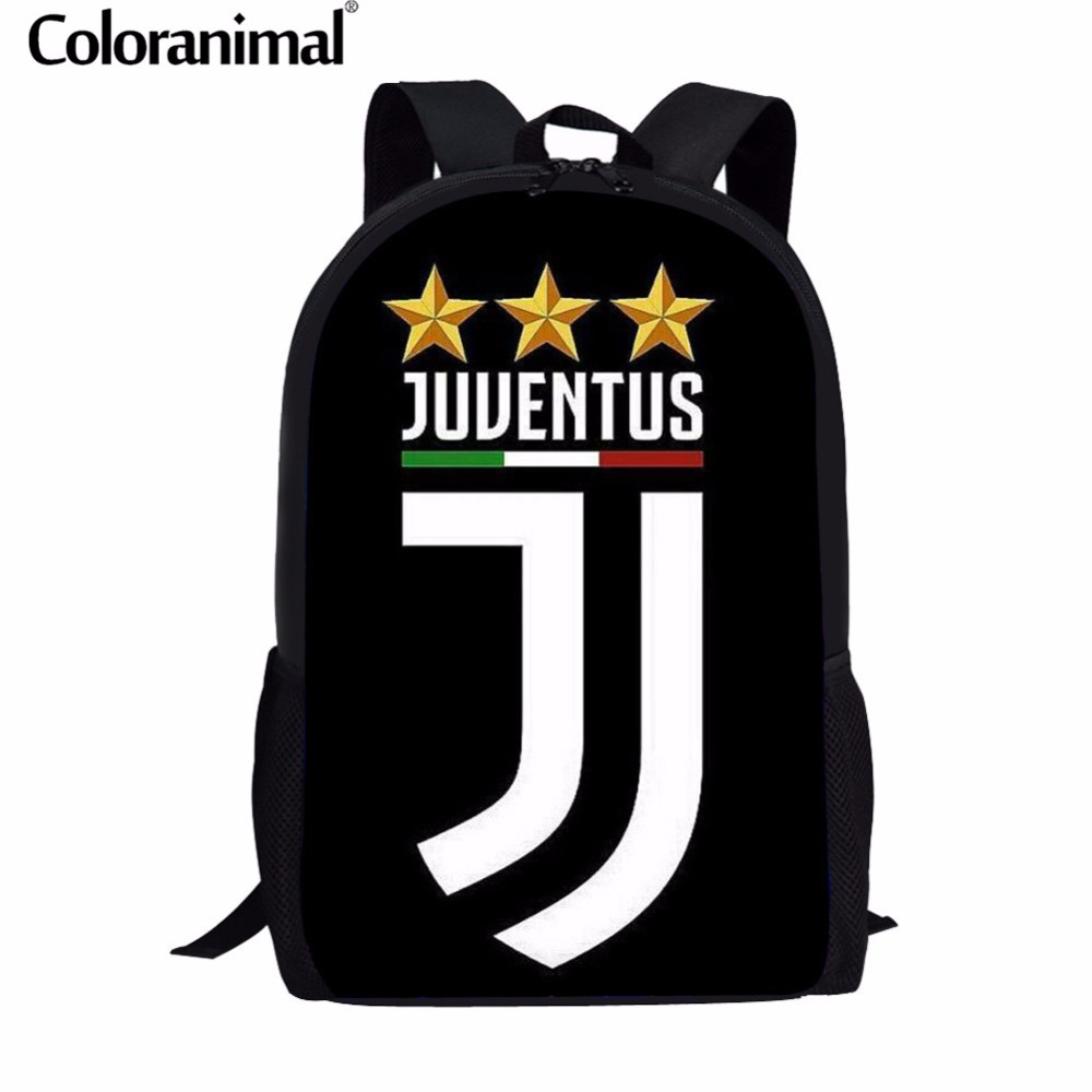 Coloranimal Men Ronaldo Juventus Backpack Teenager Boy Large Softback Rucksack Ronaldo Juventus 3D Print Child Mochila Schoolbag