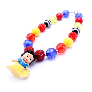 Image 4 - MSH.SUN 1set Hot sale Cute Princess Kid Chunky Necklace DIY Bubblegum Bead Chunky Necklace Jewelry For Children Girls BN009